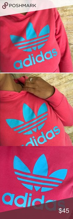Adidas | pink and blue hoodie ▪️like new, does run a little small  ▪️measurements upon request  ▪️always fast shipping  ▪️SAVE 💲 when bundling  ▪️don't be afraid to make me an offer we always can work out a deal 😍💋 adidas Tops Sweatshirts & Hoodies