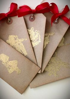 Alice in wonderland tags gold embossed set of 10 by LiziLoves