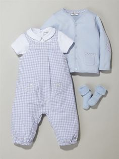 Silhouette MACMILLAN COLLAR BODYSUIT + CHECKED DUNGAREES + CARDIGAN + 2 PAIRS OF BABY BOUCLE SOCKS -: