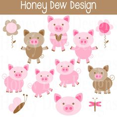 Instant Download Clipart Package 194 Pig by HoneyDewDesign