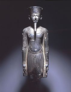 Statue of Amun with features of Tutankhamun, provenance unknown, possibly Thebes, late Dynasty 18-early Dynasty 19 (1332-1292 BCE), greywacke