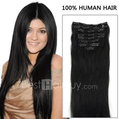 24 Inch 7pcs Finest Straight Clip In Human Hair Extensions 80g (#1 Jet Black)