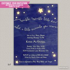 Twinkle, Twinkle Little Star Baby Shower Invitation - DIY Printable Invitation on Etsy, $15.00