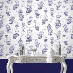Shop the Graham & Brown Loo Loo Blue Bathroom Wallpaper and give your bathroom a. Shop the Graham Quirky Wallpaper, Wall Wallpaper, Pattern Wallpaper, Wallpaper Ideas, Brown Wallpaper, Graphic Wallpaper, Wallpaper Designs, Designer Wallpaper, Bathroom Wallpaper Victorian