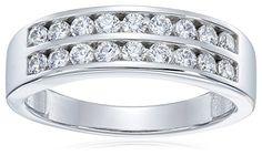 Sterling Silver PlatinumPlated Swarovski Zirconia Double Row Band Ring Size 7 *** To view further for this item, visit the image link.Note:It is affiliate link to Amazon.