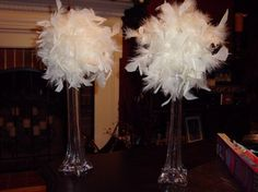 feather boa centerpieces, much cheaper than buying feathers on their own!