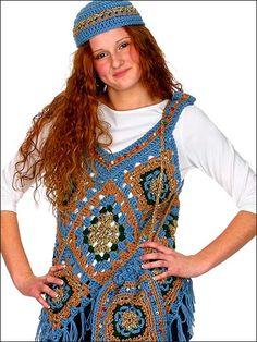 Poncho Vest, Hat And Bag By Elizabeth Ann White - Free Crochet Pattern With Website Registration - (freepatterns)