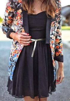 Floral cardigan with black mini dress | Fashion Inspiration