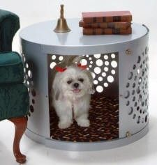 Our round hole design is a modern dog crate and can be used in any room in the house. $344.99