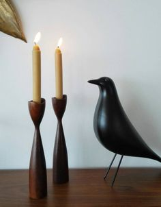 Wooden Candle Holders, Candlesticks, Natural Wood, Danish, Teak, Mid Century, Hand Made Gifts, Tent, Handmade