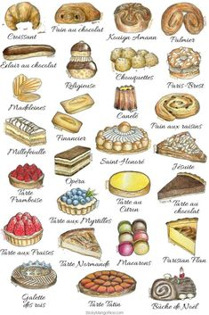 """French pastries and desserts are among those """"must try"""" things when visiting Paris. Learn more about French pastries and their names, their history and what's in them. Mini Patisserie, Boutique Patisserie, French Cake, French Food, Kouign, Baking Recipes, Dessert Recipes, Gourmet Desserts, Decoration Patisserie"""