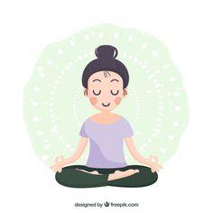 Woman meditating with flat design Free Vector Design Plat, Flat Design, Web Design, Yoga Cartoon, Cartoon Art, Yoga Mudra, Ashtanga Yoga, Namaste, Mandala Indiana