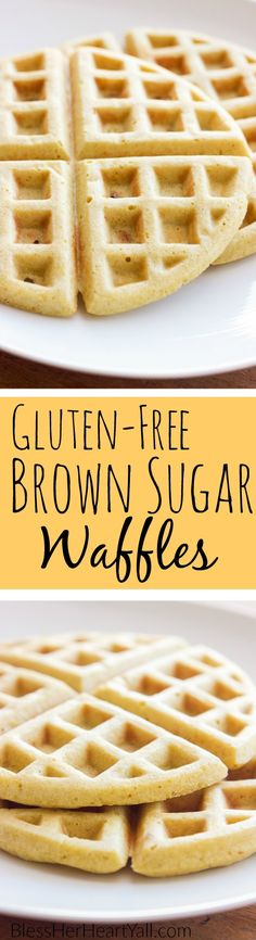 Yum! These gluten-free brown sugar waffles are fluffy, soft, with a hint of brown sugar. A gluten-free 5-minute breakfast never tasted so good!