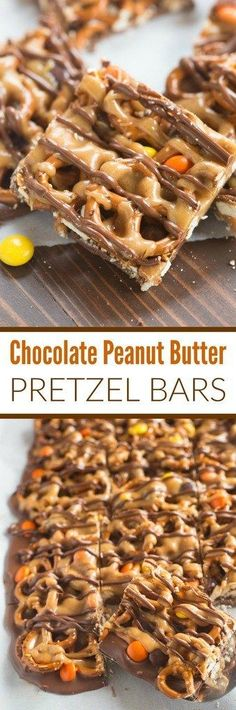 Chocolate Peanut Butter Pretzel Bars Layers of chocolate, mini pretzel twists and Reese's pieces candy are topped with a yummy homemade peanut butter sauce. These Chocolate and Peanut Butter Pretzel Bars are the perfect sweet and salty treat. Candy Recipes, Sweet Recipes, Baking Recipes, Cookie Recipes, Dessert Recipes, Dessert Bars, Bar Recipes, Quick Dessert, Dessert Ideas