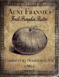 Primitive Pumpkin Butter Feedsack Logo Jar Crock Crate book Label Jpeg Digital File by Starrmtnprims on Etsy