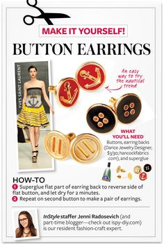 Make Your Own Button Earrings
