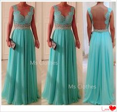 Custom Made Blue Chiffon Long Lace Prom Dresses, Bridesmadi Dresses, Evening Dresses, Formal Dresses, Wedding Party Dresses on Etsy, $172.99..... Open back dress
