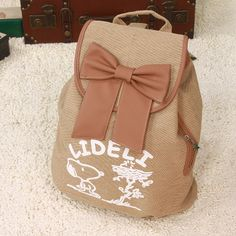 Bow SNOOPY drawstring backpack canvas bag student school bag backpack travel women's handbag