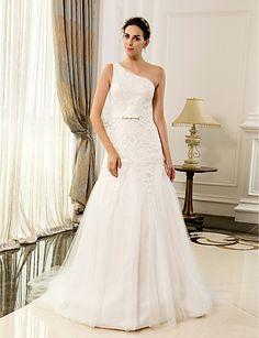 A-ligne une épaule dentelle et de satin parole longueur des robes de mariage - EUR € 206.24