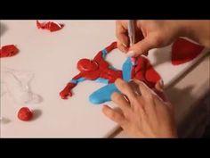 How to make Spiderman with fondant - YouTube Spiderman Cake Topper, Spiderman Theme, Superhero Birthday Cake, Novelty Birthday Cakes, Batman Cakes, Spiderman Pasta, Fondant Figures Tutorial, Cake Topper Tutorial, Fondant Toppers