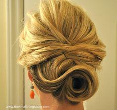Full updo for medium hair, steps & instructions on www.thesmallthingsblog.com