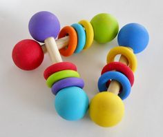 Wooden Baby Rattle Teething Toy Bright Colors by 2HeartsDesire, $10.00