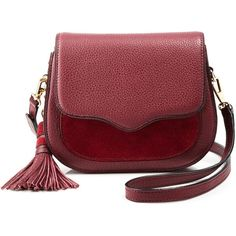 Rebecca Minkoff Sydney Crossbody - 100% Bloomingdale's Exclusive ($275) ❤ liked on Polyvore featuring bags, handbags, shoulder bags, port, leather shoulder handbags, crossbody, cross body purse, red crossbody and red purse