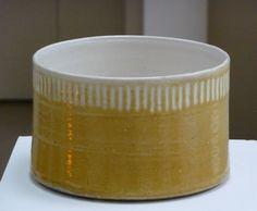 INGER ROKKJAER (1934-2008)29. Yellow cylinder with white lined border, 2007, raku, height 12 cm, diam. 18.2 cm