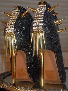 High Heel Platform Spiked Women Booties Black Glitter size 7...A SpikesByG Design. $90.00, via Etsy.
