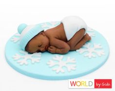 Bebé de la torta de la flor Rosa bebé fondant por WorldByGabi