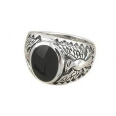 925 Sterling Silver Men's German Eagle Oval Inlay Onyx Ring