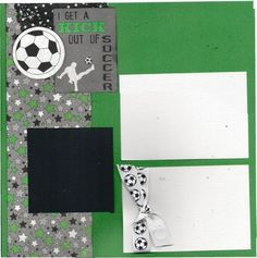 Soccer Scrapbooking Kit - I get a Kick out of Soccer, 2 page layout by CropALatteToGo on Etsy