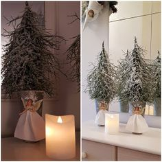 Mustikanvarvut askartelu Diy Christmas Garland, Christmas Flowers, Christmas Crafts, Xmas, Candle Sconces, Wall Lights, Candles, Table Decorations, Plants