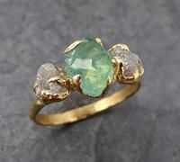 Three raw Stone Diamond Emerald Engagement Ring 18k Gold Wedding Ring Uncut Birthstone Stacking Ring Rough Diamond Ring