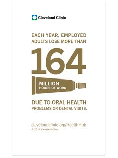 Each year, employed adults lose more than 164 million hours of work due to oral health problems or dental visits.