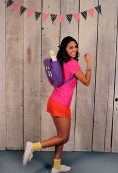 Dora the Explorer Halloween costume! visit your local Goodwill today to find everything you need for Halloween and more! Original Halloween Costumes, Fete Halloween, Original Costume Ideas, Easy Halloween Costumes For Women, Dora Halloween Costume, Halloween Inspo, Halloween 2014, Halloween Season, Halloween Outfits