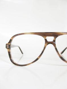 0f19bc4eb3 Mens Aviator Sunglass Frames 1970s Vintage Eyeglasses Sunglasses  Tortoiseshell Amber Deadstock NOS Dark Brown Chocolate Indie Hipster 70s