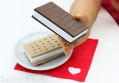 Doll ice cream sandwiches from craft foam - These look like the real thing, and they couldn't be easier. Fun American Girl craft project!
