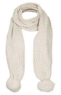 Topshop Cable Knit Pompom Scarf available at #Nordstrom