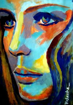 "I want to try this style of painting [Saatchi Online Artist: Helena Wierzbicki; Acrylic 2013 Painting """"Between herself and the world""""] Tableau Pop Art, Arte Pop, Love Art, Painting Inspiration, Painting & Drawing, Figure Drawing, Amazing Art, Canvas Art, Framed Canvas"
