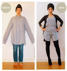 Amazing upcycling tutorial  anienessence: DIY: Romper from Men's Shirt