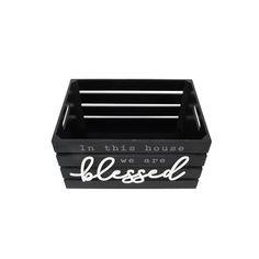Blessed 13.4'W x 9.5'H Distressed Black Nesting Storage Crates, Set of Three