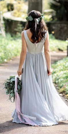 The beauty of this soft dove grey is that it goes with anything, but it's still interesting and different. So you can wear a coloured wedding dress, and not have to compromise on any of your other wedding details.