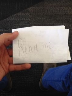 """""""Found a letter with 'Read Me' written on it at San Francisco International Airport on an empty chair."""""""