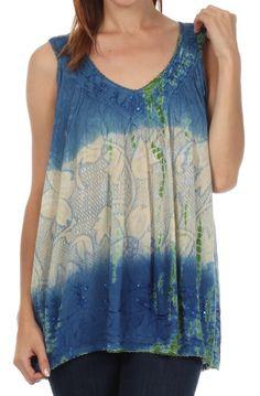 Sakkas Women's Tie Dye Floral Sequin Sleeveless Blouse