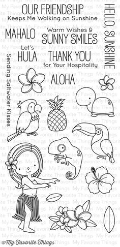 So cute new August release. Polynesian paradise  stamp from My Favorite Things.
