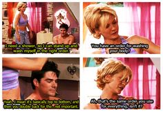 """""""I need a shower.."""" ~ Dharma & Greg ~  Quotes ~ Season 1, Episode 3: Shower the People You Love with Love"""