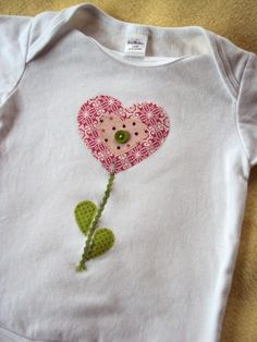 Fall Preview SALE 1 Dollar Shipping- Flower Heart Applique -Short Sleeve Shirt Onesie or Toddler Shirt on Etsy, $15.95