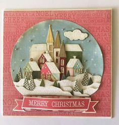 Beautiful, made w/Tim Holtz snowglobe dies-inspiration Christmas Paper Crafts, Christmas Tag, Handmade Christmas, Tim Holtz, Xmas Cards, Holiday Cards, Circle Crafts, Winter Karten, Winter Cards