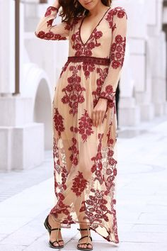 Floral Embroidery Plunging Neck Long Sleeve Maxi Dress - WINE RED L